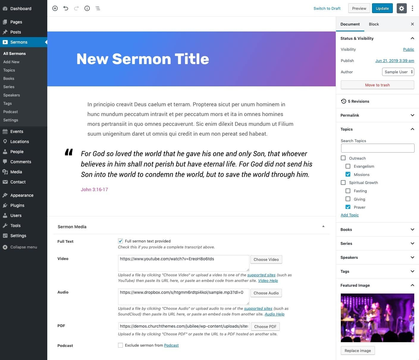 Church website with WordPress